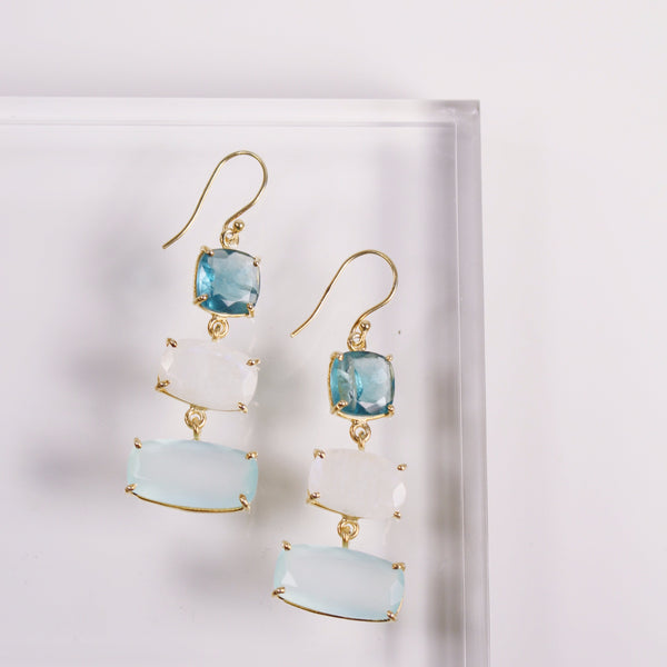 PREORDER- Piran Earrings - Aqua Chalcedony