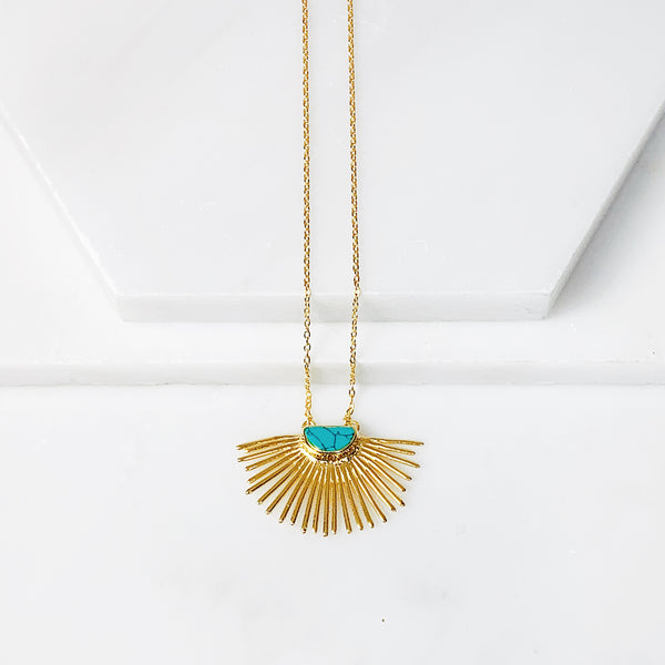 Starburst Pendant Necklace Short- Turquoise