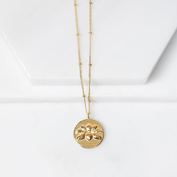 Lotus Medallion Necklace