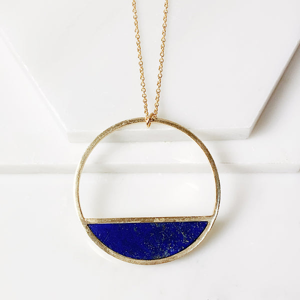 Half-Moon Bay Pendant Necklace - Lapis