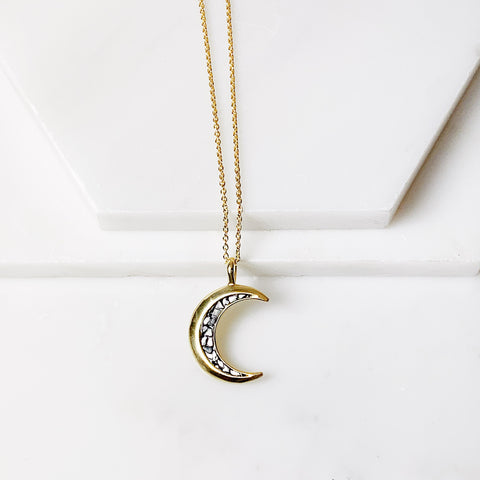 Crescent Pendant- Black Deco Diamond