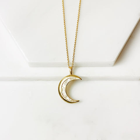 Crescent Pendant- White Deco Diamond