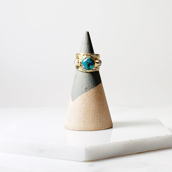 Etruscan Dome Ring- Turquoise/Pearl