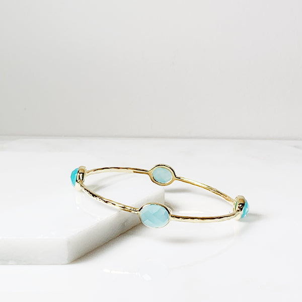 Eleanor Bangle Bracelet- Aqua Chalcedony