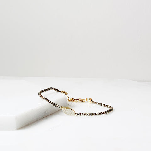 Joan Layering Bracelet- Pyrite/ White Deco Diamond