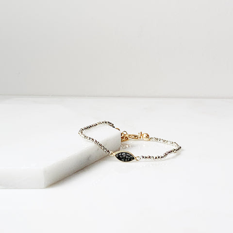 Joan Layering Bracelet- Pyrite/ Black Deco Diamond