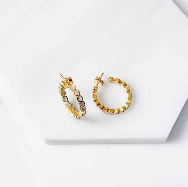 Irelyn Hoop Earrings- White Deco Diamond