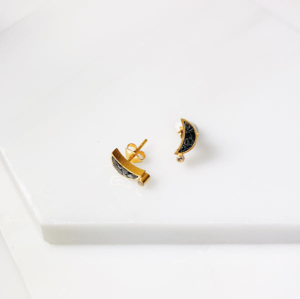 Crescent Stud Earrings- Black Deco Diamond