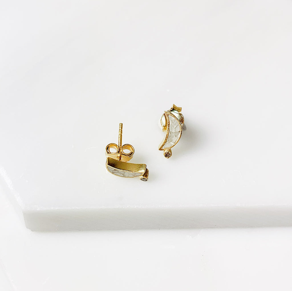 Crescent Stud Earrings- White Deco Diamond