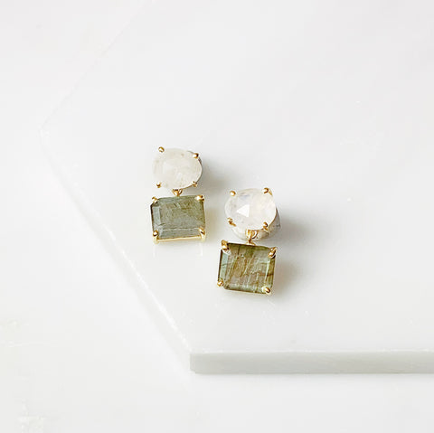 Alex Two Stone Earring- Moonstone/Labradorite