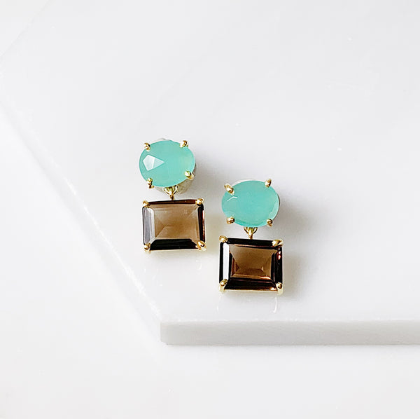 Alex Two Stone Earring- Aqua Chalcedony/Smoky Quartz