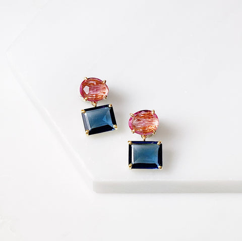Alex Two Stone Earring- Pink Tourmaline/Blue Iolite