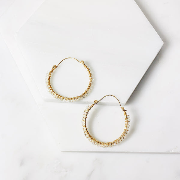 Megan Hoop Earrings- Moonstone