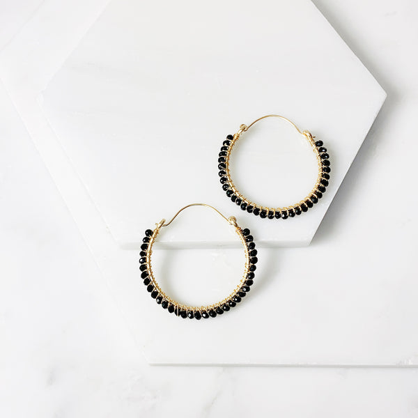 Megan Hoop Earrings - Black Onyx