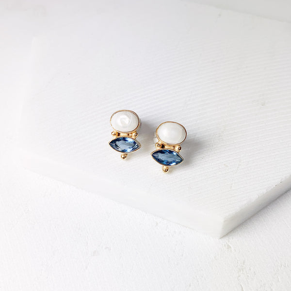 Victoria Stud Earrings- Pearl/ Iolite