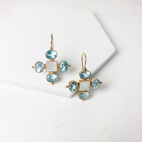 Diana Earrings- Pearl/ Blue Iolite