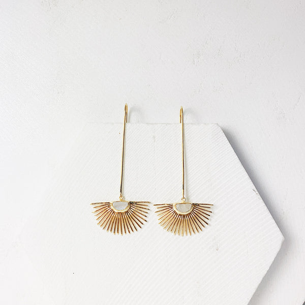 Starburst Drop Earrings- Moonstone
