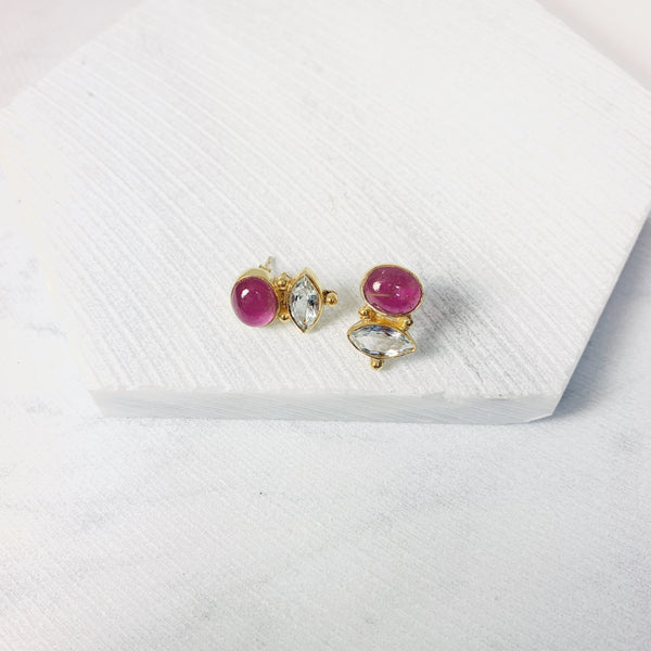 Victoria Stud Earrings- Pink Tourmaline/ Aqua
