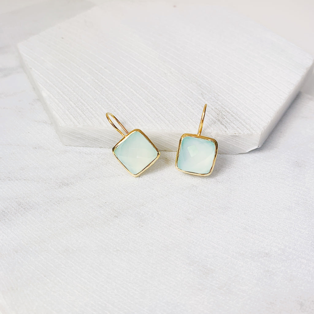 Serena Earrings- Aqua Chalcedony