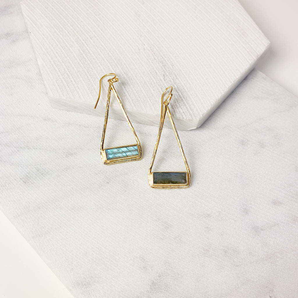 Stirrup Earrings- Labradorite
