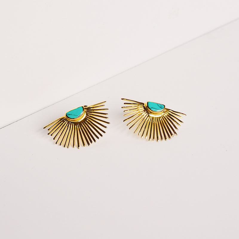Starburst Stud Earrings - Turquoise