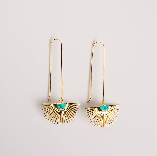Starburst Drop Earrings - Turquoise