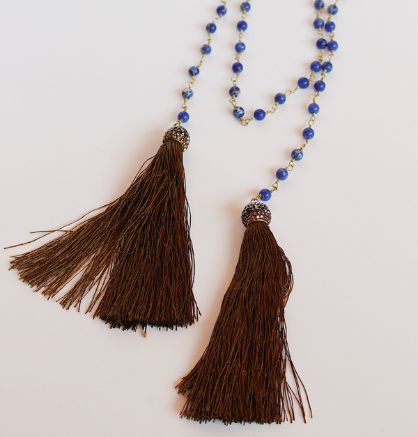 Blue Beaded Fringe Tassel Wrap - Brown