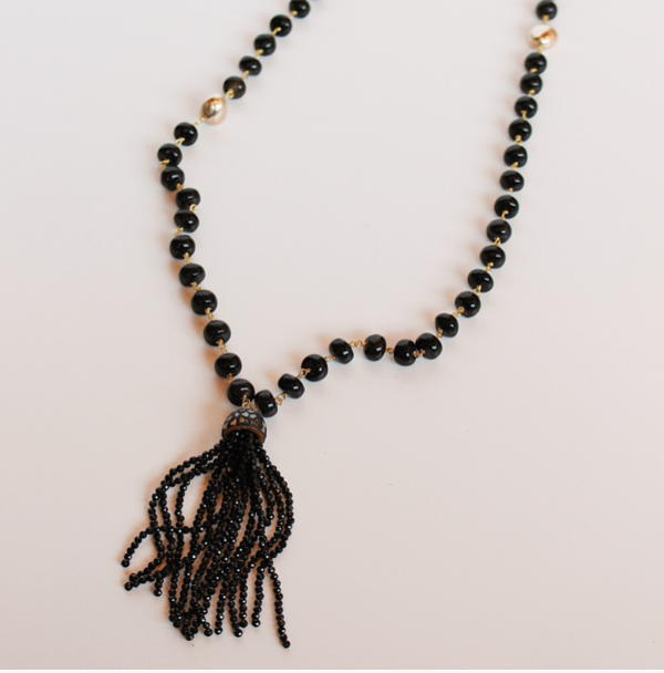 Black Onyx Beaded Tassel Necklace