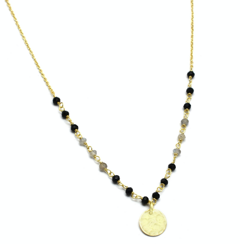 Labradorite and Black Onyx Beaded Necklace
