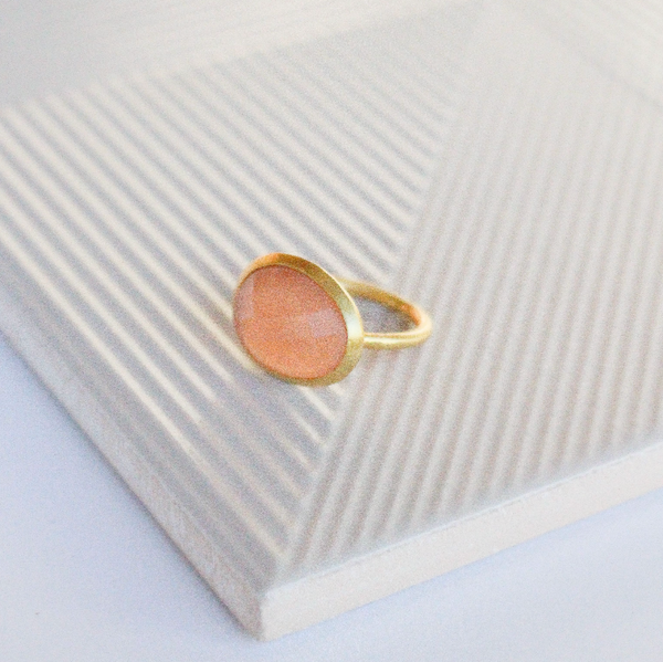 NEW! Charlotte Ring - Peach Moonstone