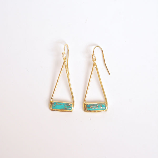Turquoise Stirrup Earrings