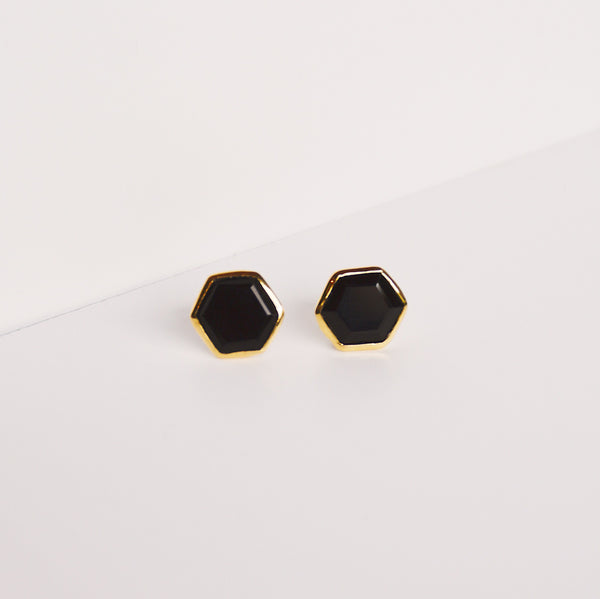 Brooklyn Stud Earrings - Black Onyx