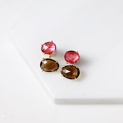 Alex Two Stone Earring- Pink Tourmaline/Smoky Quartz