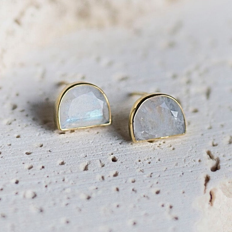 Half-Moon Bay Stud Earrings Moonstone