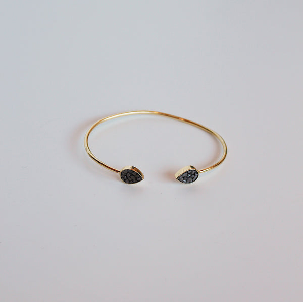 Deco Diamond Teardrop Cuff