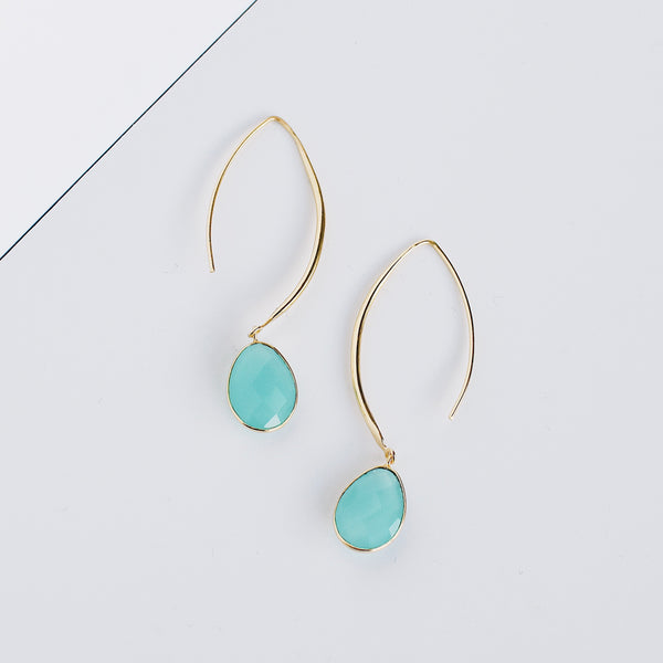 Stiletto Earrings - Aqua Chalcedony