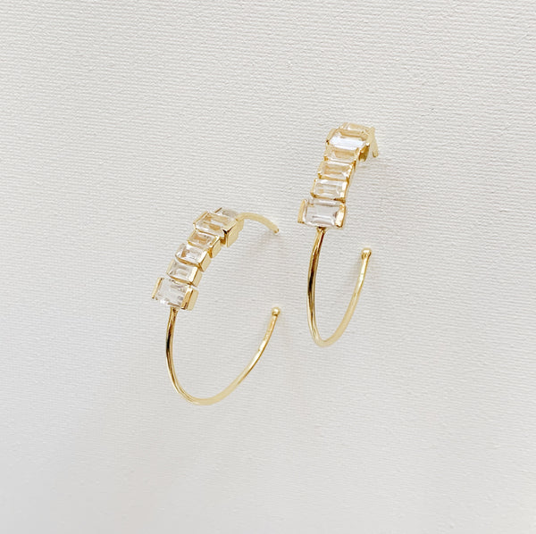 Firenze Hoops- Clear Quartz
