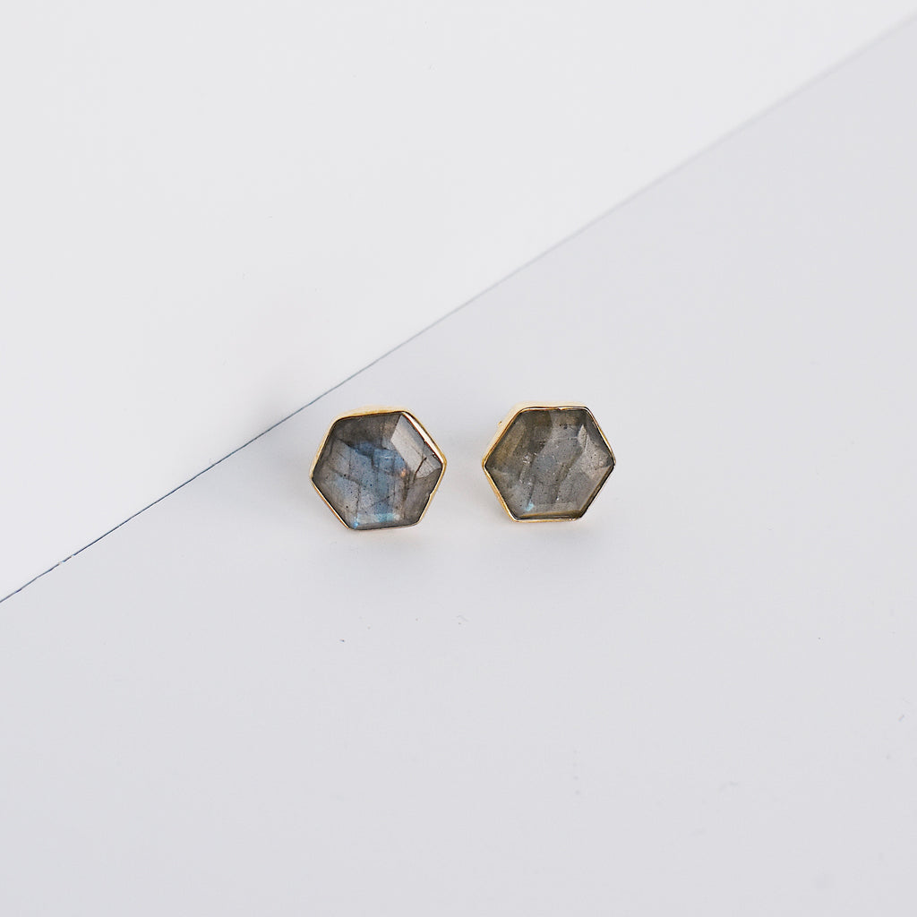Brooklyn Stud Earrings - Labradorite