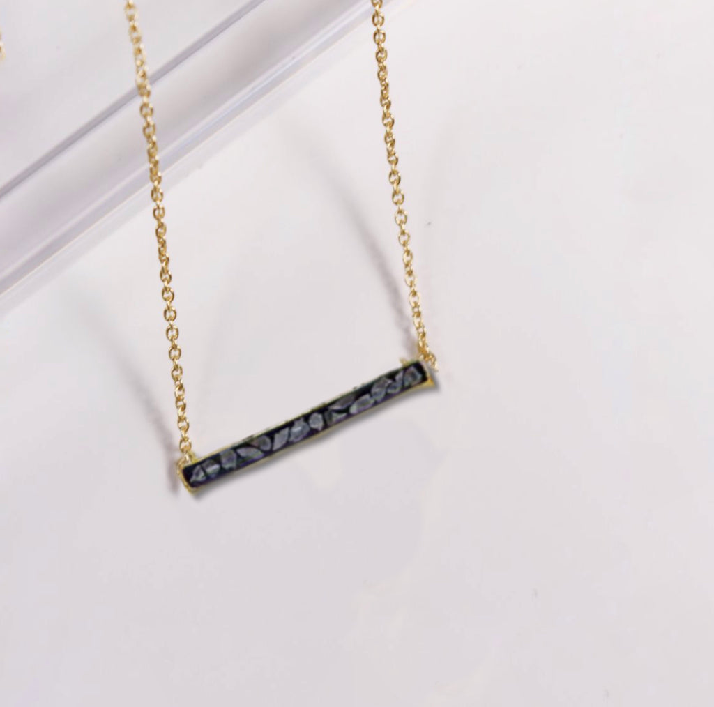Deco Diamond Bar Necklace-Black