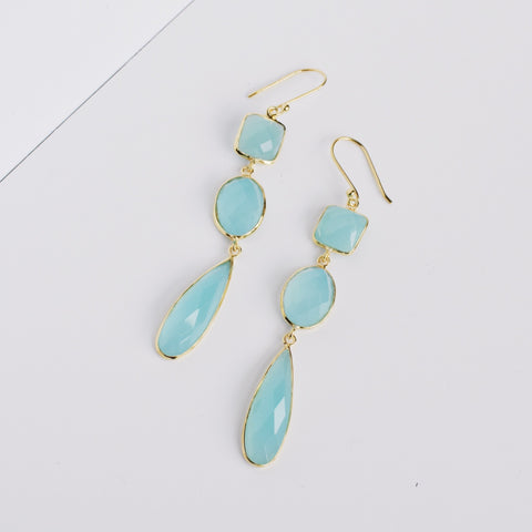 Amelie Earrings - Aqua Chalcedony
