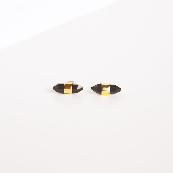 Jasper Stud Earrings - Black Onyx