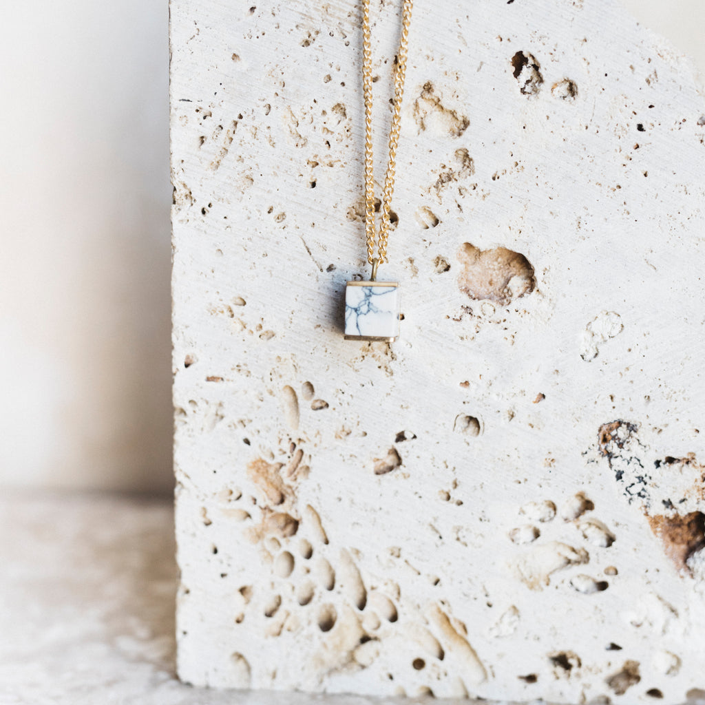 Howlite Cube Necklace