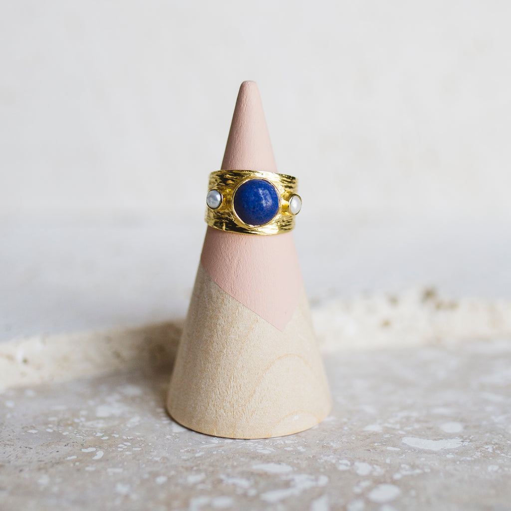 Etruscan Dome Ring- Lapis/Pearl