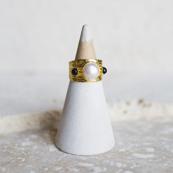 Etruscan Dome Ring- Pearl/ Black Onyx