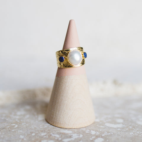 Etruscan Dome Ring- Pearl/ Lapis