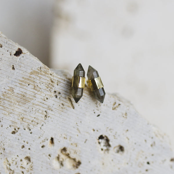Jasper Stud Earrings- Labradorite