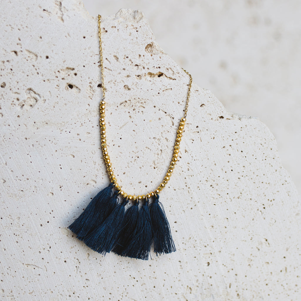Mini Tassel Necklace- Navy Blue