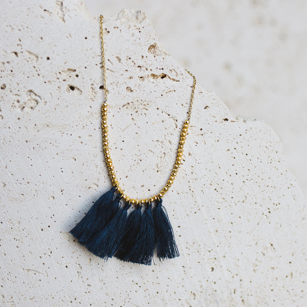 Mini Tassel Necklace- Mingled Blue