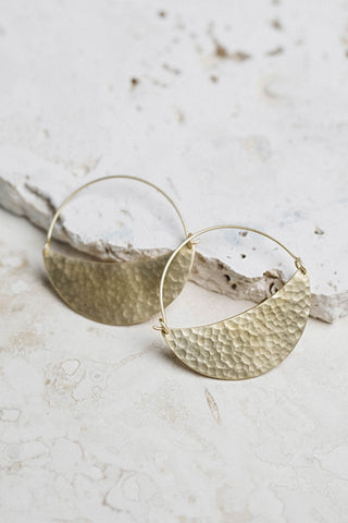 Ayla Statement Earrings in Hammered Brass