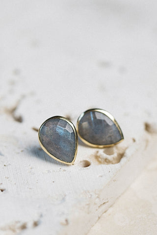 Teardrop Labradorite Stud Earrings